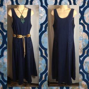 Maxi denim dress in mid-dark blue wash